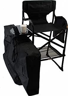 World Outdoor Products Professional Edition Tall Directors Chairs with Side Table,Built-in Cup Holder, New Removeable Front,Back Patches, Custom Carry/Storage Bag.