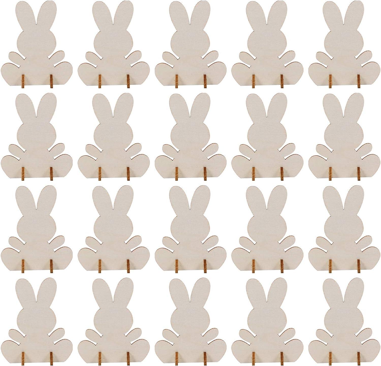 ABOOFAN 20pcs Elegant Wooden Easter Bunny Unfinished Sprin List price Tabletop Sign