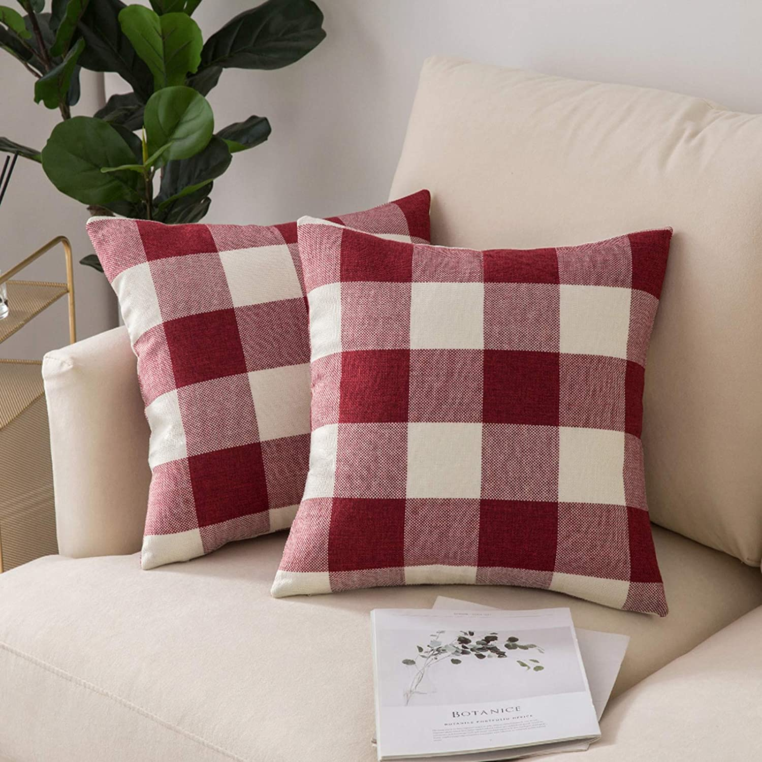 Woaboy Sale Pack of 2 Buffalo Check Plaids SEAL limited product Cov Throw Farmhouse Pillow