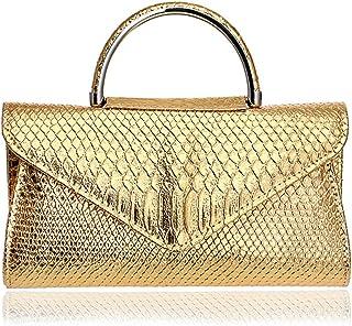 Women's PU Imitation Leather Banquet Party Evening Bag Chain Messenger Bag Wedding Bride Clutch Bag Handbag Handbag Wallet Size: 26 * 5 * 14cm Fashion (Color : Gold)