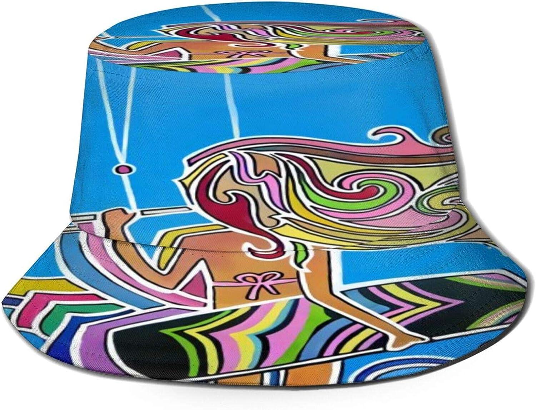 Kitesurfing Girl Bucket Hat Unisex Sun Hat Summer Packable Fisherman Hats Black