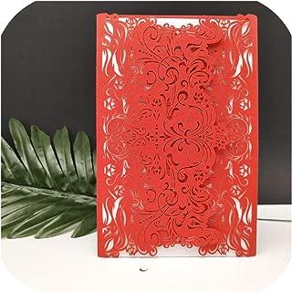 30pcs Cut Wedding Invitations Blank Wedding Cards Birthday Greeting Card Kits Wedding Event & Party Supplies,Red