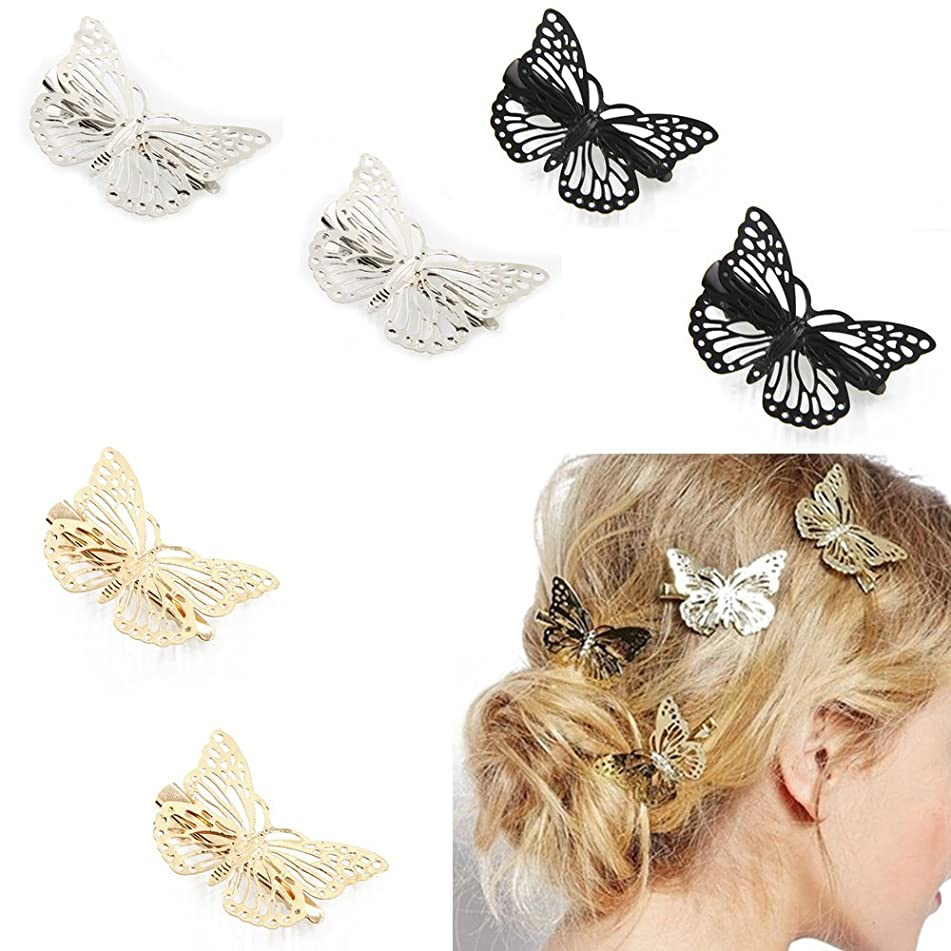 Fireboomoon Pack of 6 Hollow Metal Butterfly Hair Clip Clamps Hairpin Hair Accessories (Gold, Sliver, Black) Bobby Pins,Girls Hair Accessories,Butterfly Clips,Butterfly Hair Clip,Girls Hair Clips