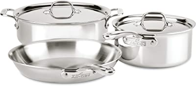 All-Clad ST40005 D3 Compact Stainless Steel Dishwasher Safe Cookware Set, 5-Piece, Silver