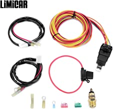 LIMICAR Dual Electric Cooling Fan Wire Harness Kit 185 Degree On 165 Off Engine Fan Thermostat Temperature Switch 40/50 amp Relay Kit