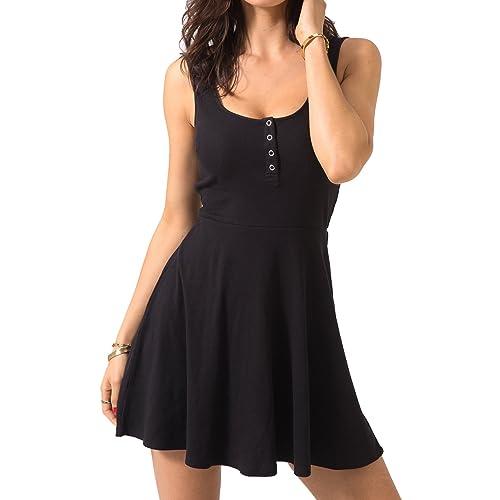 7ad49ff8575b Chifave Women s Casual Sleeveless High Waist Slim Fit Flare Skater Mini  Tank Dress