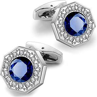 دکمه های سر دست روکش طلا P.IPHILA 18K برای مردان دارای دکمه سر دست زیبا و کریستال Blue Navy Blue با دکمه سر دست مردانه Case برای مهمانی عروسی با جعبه هدیه Cufflink