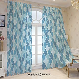 Sheer Curtains 84 inches Long Harlequin Winter Theme Pattern Elongated Squares Aquatic Colors Antique Italian Sheer Window Treatment Voile Drape Panels with Grommet Top(2-Pack,52 Wx 84 inch L),Multic