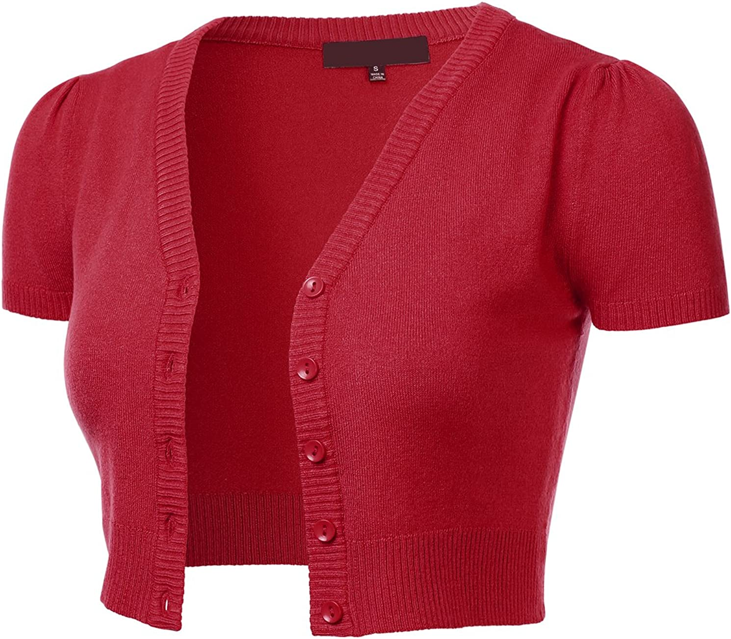 FLORIA Womens Button Down Short Sleeve Cropped Bolero Cardigan Sweater RED M