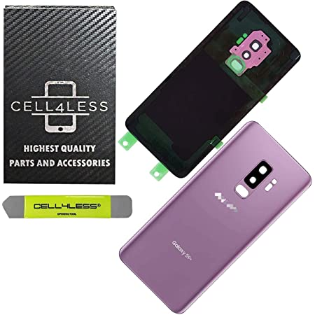CELL4LESS Compatible Back Glass Cover Back Door w/Pre-Installed Camera Lens - Adhesive-Removal Tool- Camera Lens for Samsung Galaxy S9+ Plus - All Models G965 All Carriers- OEM Replacement (Purple)