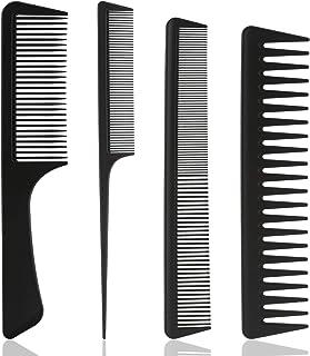 LUTER Barberology Comb zestaw 4 odpornych na wysokie temperatury płaskich grzebieni, grzebienie stożkowe, grzebienie do st...
