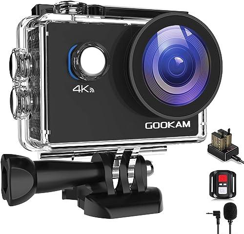 GOOKAM 4K Action Cam 20MP WiFi Telecomando Fotocamera Subacquea Impermeabile 40M Sott'Acqua Sports Camera Schermo 2 P...