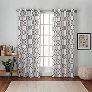 Exclusive Home Curtains Kochi Linen Blend Window Curtain Panel Pair with Grommet Top, 54x84, Black Pearl, 2 Piece
