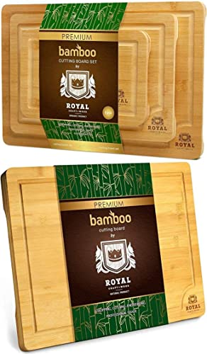 """new arrival Extra wholesale Large discount Bamboo Cutting Board (18"""" x 12"""") and Bamboo Cutting Board Set by Royal Craft Wood outlet online sale"""