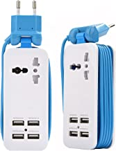 Europe USB Power Strip with 4 Ports USB Charging Station Outlets 5V 2.1A-1A 21W Universal Socket EU Plug 100V-240V Compact 5ft Extension Cord Portable Electric Power Strip for Traveling (Blue)