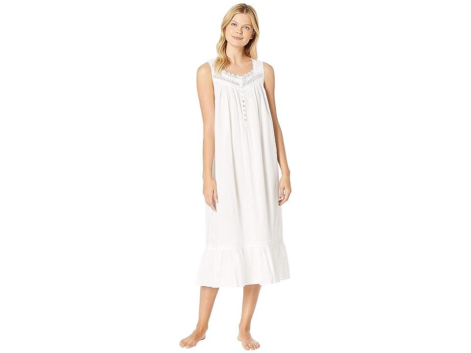 Eileen West Ballet Woven Floral Nightgown (White) Women