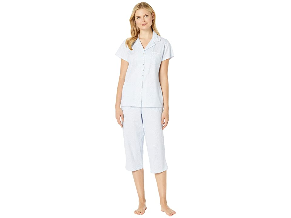 Eileen West Cotton Jersey Notch Collar Pajama Set (White Ground Geo) Women