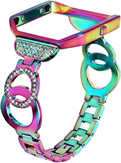 Nigaee for Fitbit Blaze Bands for Women Small, Stainless Steel Metal Replacement Band with Frame Compatible for Fitbit Blaze, Rhinestone Bling Accessories Wristband Strap-Colorful