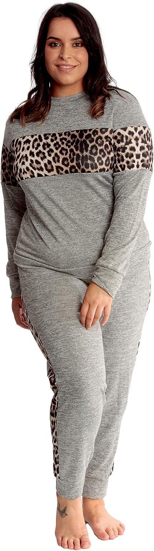 Nouvelle Womens Plus Size Tracksuit Ladies Leopard Animal Print Sweatshirt Bottoms