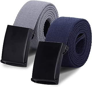 Boys Canvas Web Belts - 2PCS School Uniform Cotton Strap Belt Adjustable in Four Sizes Suitable for Girls