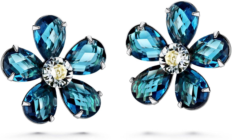 JOUDOO 16K gold Flower bluee Crystal Platinum Earrings with Screw Back and Post Stud Earrings