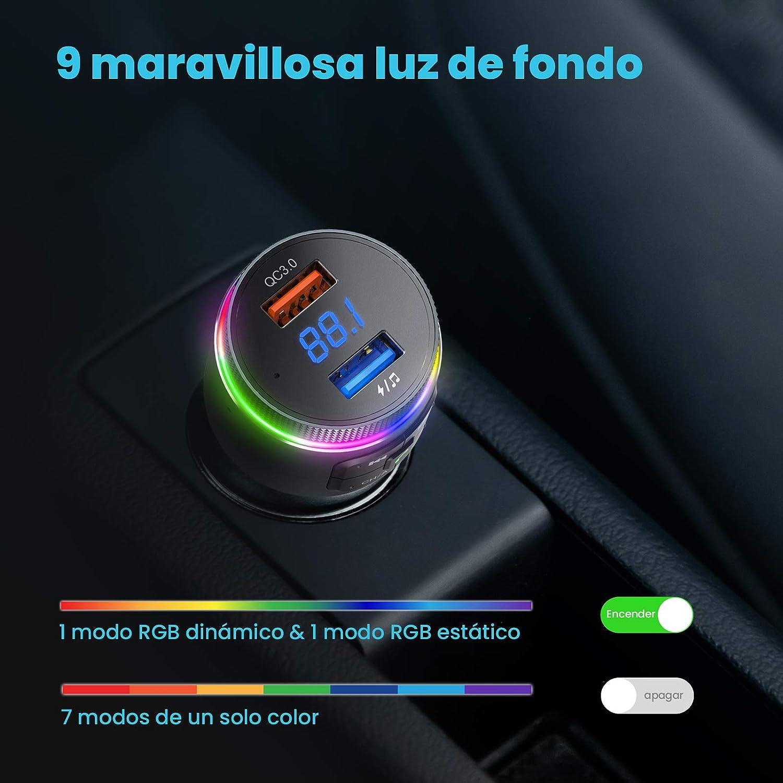 Dual Micr/ófono Manos Libres Reproductor MP3 QC3.0 Adaptador,Siri Google Asistente//Luz LED Anillo Detecta Frecuencia Libre de Forma Autom/ática VicTsing Transmisor FM Bluetooth 5.0 para Coche