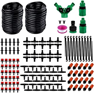 Hamkaw DIY Micro Irrigation Drip System 98.4ft 1/4inch Blank Distribution Tubing with Sprayers Mister Nozzle Automatic Wat...