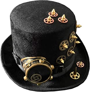 653648f1b31ff0 crazy hunter Steampunk Top Hat Metal Spike Gears Mens Costume Cosplay Hats  Gothic Punk