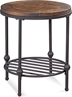 Bassett Mirror Company Round End Table in Rustic Barn Side Finish