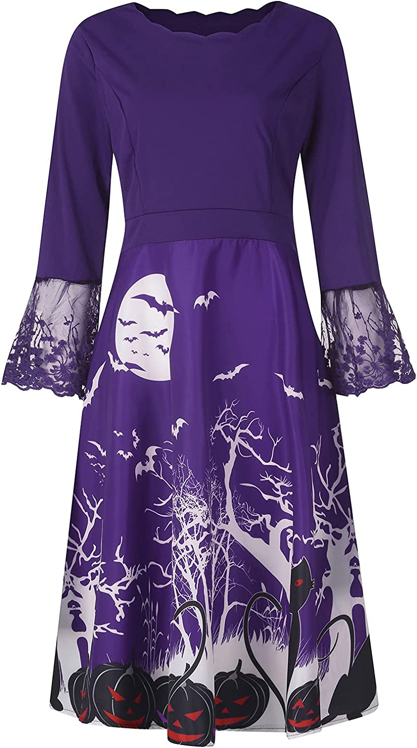 Shaloly Halloween Vintage Evening Party Dress for Women, O-Neck Long Sleeve Printed Prom Dress