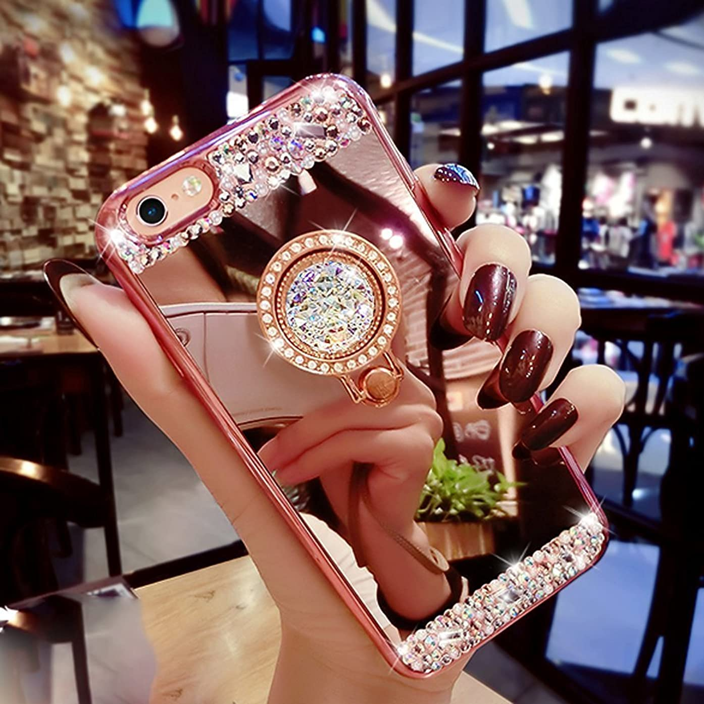 iPhone 8 Plus Case ,MACBOU Fashion Crystal Rhinestone Soft Rubber Bumper Bling Diamond Glitter Mirror Case Makeup With Ring Stand Holder Case Cover for iPhone 8 Plus (Rose Gold)