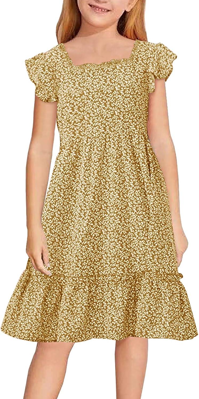 CNJFJ Girls Short Sleeve Dresses Fashion Print Swing Knee-Length Dress Kids Party Clothes