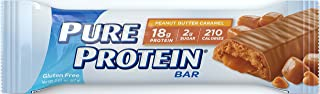 Pure Protein Bars, High Protein, Nutritious Snacks to Support Energy, Low Sugar, Gluten Free, Peanut Butter Caramel, 1.76oz, 6 Pack