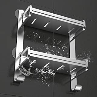 Orimade 粘着バスルームシェルフ 壁マウントシャワーキャディ 防錆バスストレージラックオーガナイザー アルミニウム ドリル不要 2段