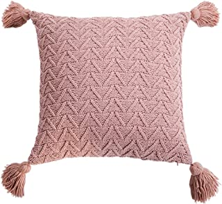 Karrychen Funda de cojín Tejida a Crochet con borlas, Funda de cojín a Rayas Triangulares, Rosa