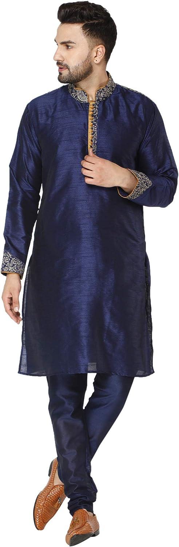 SKAVIJ Art Silk Kurta Pajama for Men Indian Festival Wedding Party Dress Suit