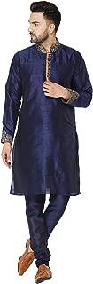 SKAVIJ Men's Tunic Art Silk Kurta Pajama Set Party Dress