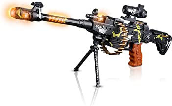 ArtCreativity Toy Machine Gun with Scope, Stand and Carrying Strap Flashing Lights, Sounds and Unique Revolving Rounds - Thrilling 25 Inch Submachine Gun Toy - Great Gift Idea for Boys and Girls