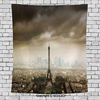 Wall Tapestry Hanging 3D Printing Tree Tapestry Wall TapestryLiving Room Bedroom,Eiffel Tower Decor,Paris Skyline Cloudy Cityscape Silhouette Stormy European Birds Eye View Realistic,Brown Beige