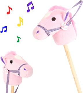 Best Choice Products 36-Inch Giddy-Up Stick Horse Stuffed Plush Animal Toy w/ Sounds, Pink