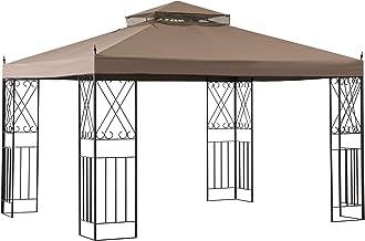 Sunjoy A101012100 Shawn 10 x 12 ft. Steel Gazebo with 2-Tier Canopy, Khaki