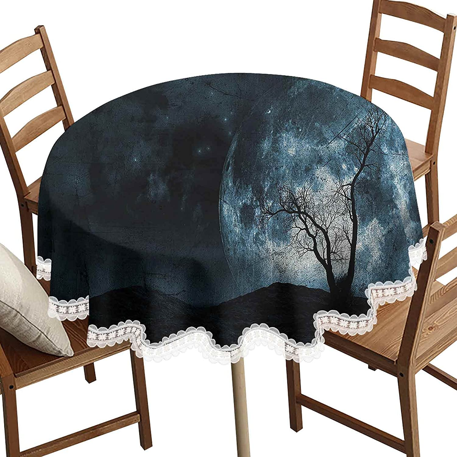 SoSung Fantasy Round Decorative Tablecloth Houston Mall Daily bargain sale with Sky Night Moon