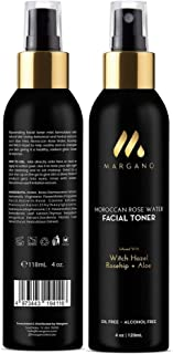 Rose Water Facial Toner & Mist w/Witch Hazel, Rosehip, Moroccan Rose Water and Aloe Vera | Restore pH, Tone, Sooth, Moisturize, Set Makeup| All Skin Types. Alcohol Free. Oil Free, 4oz