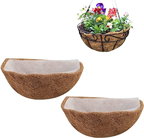 new arrival BTSRPU 14 inch Coco Liners for Window Box/Hanging outlet sale Trough Planter, Coco Coir Liners Semicircle, Coconut online Fiber Plant Basket Liner Non-Woven Flower Basket Mat for Flower Pot/Wall Hanging online sale