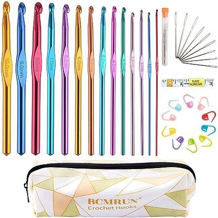 BCMRUN Crochets Set 14 Tailles 2mm (B) -10mm (N) Kit d'Aiguilles à Tricot Ergonomiques en Aluminium avec Case Weave Yarn Craft Set, Crochet Crochet Knit Needle, Meilleur Cadeau pour Femmes Filles