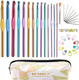 BCMRUN Crochets Set 14 Tailles 2mm (B) -10mm (N) Kit d'Aiguilles à Tricot Ergonomiques en Aluminium avec Case Weave Yarn C...