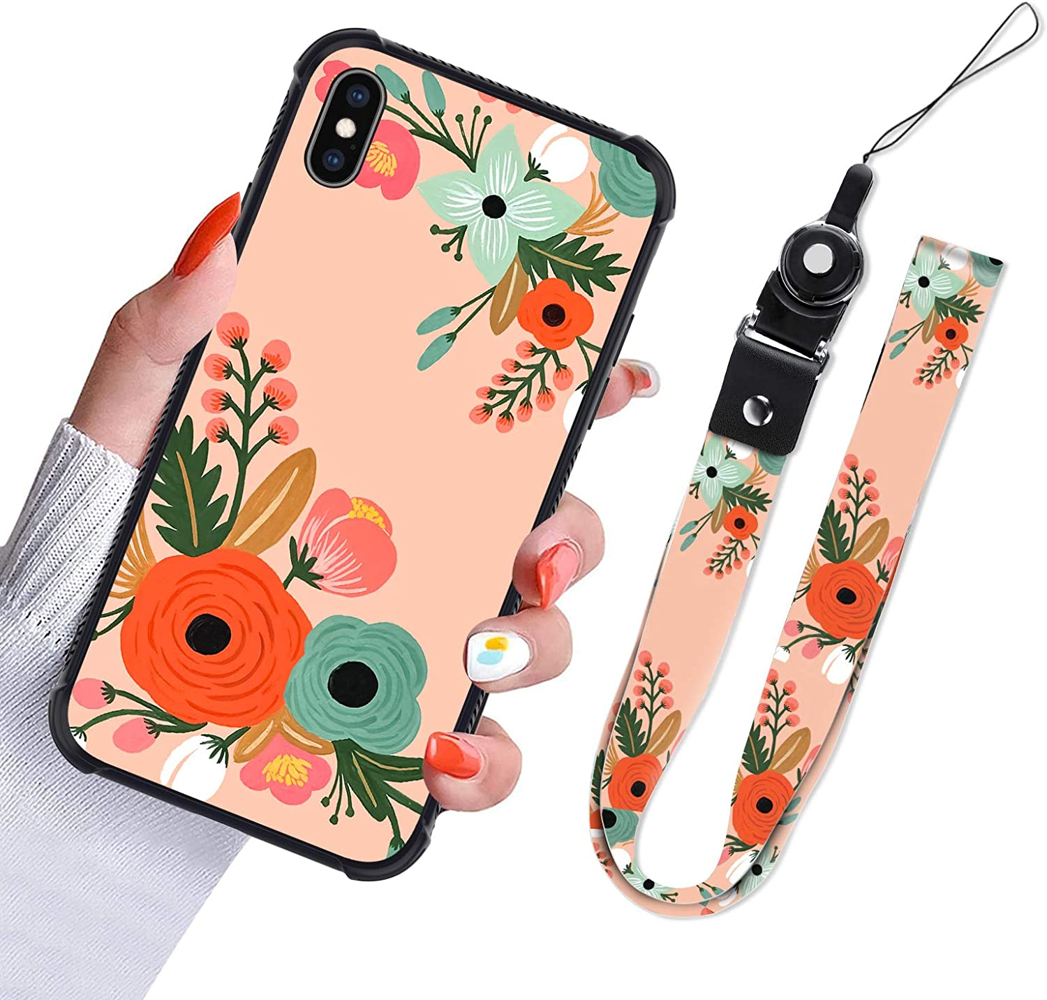iPhone Xs Max Case Orange Flower Floral Blossom Design Slim Hybrid TPU Bumpers Full Protective Shockproof Phone Cover with Lanyard Neck Strap for Women Girls for iPhone Xs Max 6.5 Inch