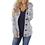 Sidefeel Women Hooded Knit... Sidefeel Women Hooded Knit Cardigans Button Cable Sweater Coat