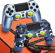 AUGEX Paquete de 2 controladores para mando a distancia PS4 compatible con Playstation 4, PA4 inalámbrico Joystick regalo para niños, hijo, hombre (camuflaje azul y control azul titanio, no original de camuflaje controlador)