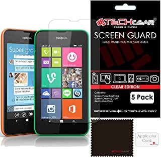 TECHGEAR [5-pack] skärmskydd för Nokia Lumia 530 – genomskinlig LCD-skärmskydd skydd skydd kompatibel med Nokia Lumia 530